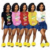 Vêtements femme Tops Mode Imprimé Lettre d'été manches courtes T-shirts occasionnels Savage Imprimer Pull T-shirts Tenues Vêtements S-XXL D42006