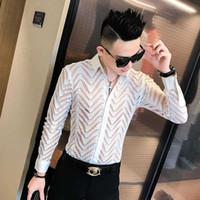 Camisa atractiva del cordón de los hombres ver a través de la camisa del smoking fiesta largo Slim Fit manga las camisas del desgaste para los hombres Ropa 2020 Club de la blusa del vestido
