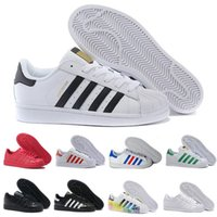 2018 Superstars Original Negro Blanco Holograma Iridiscente Junior Gold Superstars Sneakers Originals Super Star Mujer Hombre Deporte Zapatillas de deporte Zapatos