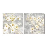 DYC 10059 2PCS Arte de impresión de flores blancas listo para colgar pinturas