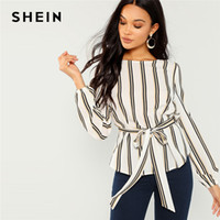 68b27da735 Shein White Office Lady Elegant Striped Print Scoop Neck Long Sleeve Blouse  2018 New Autumn Workwear Women Tops And Blouses Q190419