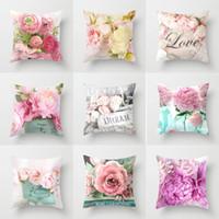 Cojín Rose Impreso caja de la almohadilla Cubierta floral para la decoración del hogar Sofá cama flor de Rose almohadilla de tiro de la caja 45 * 45cm XD23317