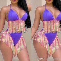 Mulheres sensuais e magras duas fatias Fatos de banho coloridos Tassel Verão Fatos de banho relaxados 2 pcs senhoras fatos de Banho Moda Biquínis Mulheres De Moda