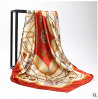 أزياء المرأة والأوشحة الحرير والأوشحة 90cm * 90 سنتيمتر كبير مربع التفاف الحرير والأوشحة وشاح للنساء