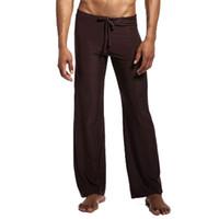 رجل منتصف الارتفاع sweatpants الرياضة بيجامة الرجال السراويل اليوغا السراويل صالة الحرير الجليد الرجال مثير ملابس داخلية طويلة قيعان النوم