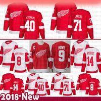 homens Detroit Red Wings Dylan Larkin Hockey Jersey 14 Gustav Nyquist 40 Henrik Zetterberg 8 Justin Abdelkader 19 Steve Yzerman 9 Gordie Howe