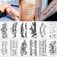 3D татуировки Алфавит английский Слово Temporary Body Art татуировки наклейки кожного покрова для Мужской Женский Arm Грудь Талия Lover Водонепроницаемая переводная бумага