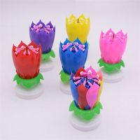 La flor de loto Música Vela fiesta de cumpleaños hermosa de la flor de loto flor de torta de la vela chispa de la música de la torta giratoria vela Velas