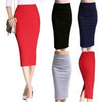 Herbst-Winter-Frauen-Bleistift-Rock mit hoher Taille Baumwollnormallack Stretch Elastic Schlanke Business-Split Bodycon Röcke