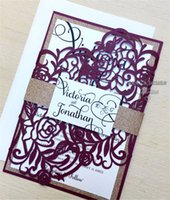 Laser Cut Gatefold Wedding Invitation - Rose Gold Glitter - ...