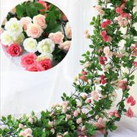 Flores Artificiais Ivy Folha de Videira Festão 2.45m Longa Silk Rosa Flower Parte de Casamento Casa Decoração da Casa Grinalda Favores LXL838-1