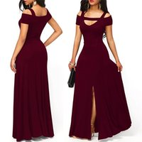 Hot Women's Dresses Casual Long Maxi Evening Party Beach Long Dress Solid Wine Red Black Square Collar Summer Costume