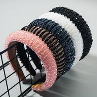 Новая мода повязка для женщин Толстой Губки Hairband ручной Rhinestone шпагат диапазона волосы Барокко Аксессуары для волос для взрослых