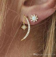 Vintage Kreative frauen Ohrringe Ohrstecker Glänzende Diamant Vergoldete Legierung Eardrop Mond Stern Kristall Ohrring Creolen Drop Shipping