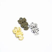 70pcs / pack Corujas encantos Jóias DIY Fazendo pingente Fit pulseiras colares brincos artesanais Artesanato Prata Charme Bronze