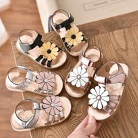 2020 Summer Girls Sandals Children Paint Sunflowers Soft- Sol...