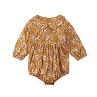Bebek Bodysuits 2020 Yeni Moda Sweet Yenidoğan Kız Giyim Kare Yaka Çiçek Prenses Jumpsuit Kıyafetler Giyim Tops