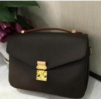 جودة عالية جلد طبيعي المرأة براون رسالة حقيبة يد pochette Metis حقائب الكتف crossbody الرجعية مصمم حقائب اليد