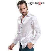 Camisas de vestido masculino camisa de roupa de luxo camisa homens marca cetim casamento casamento assistir festa noivo brilhante liso liso branco smoking para