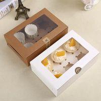 Tarjeta de la magdalena del papel de Kraft Caja 6 portavasos Cake Cajas mollete postre torta caja portable del paquete de seis bandeja regalo del favor LX8209
