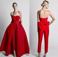 2020 Нового Modest Красных Комбинезонов Wdding Платье с Съемной Юбкой без бретелек невесты платья невесты партии Брюки для женщин выполненного на заказе 72