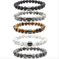 8MM naturel pierre de lave Turquoise Perles Tiger Eye hématite Bracelet Diy Aromathérapie Huile essentielle Bracelet diffuseur pour bijoux d'hommes de femmes