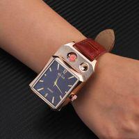 Hurtownie Creative Men's 2 In 1 Wrist quartz Watch Lighter Electric Coil Grzejnik Zapalniczka USB Akumulator Wiatroodporny Główny W0290