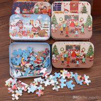 Regalos de Navidad rompecabezas de madera de juguete niños Santa Claus rompecabezas de Navidad Niños Temprano Educación de bricolaje Rompecabezas Niños bebé de la Navidad al por menor