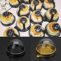 Mini rondes Lune Cake Container Plateaux Boîte D'emballage Titulaire De La Boîte De Faveur De La Fête De Mariage 50g Mooncake Oeuf-Jaune Bouffées De Soufflets