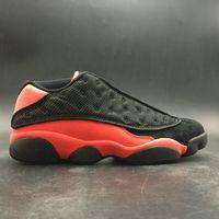 نسخة عالية 13 منخفض جلطة أسود أحمر كرة السلة مصمم أحذية ريال ألياف الكربون الثالث عشر أسود الأشعة تحت الحمراء 23 المدربين الأزياء تأتي مع مربع