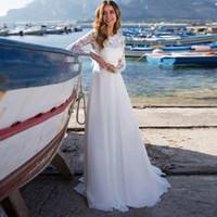 2019 긴 소매 보헤미안 컨트리 웨딩 드레스 Appliques 레이스 Boho Beach 웨딩 드레스 여름 국가 신부 가운
