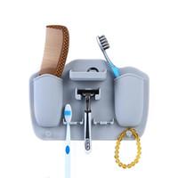 Silicone porte brosse à dents mural ventouses dentifrice et rasoir organisateur ventouse crochets stockage rack salle de bain accessoires 5 couleurs