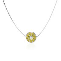 Monili dell'argento sterlina della collana d'argento dello smalto del limone della frutta di modo per le ragazze 5pcs un lotto