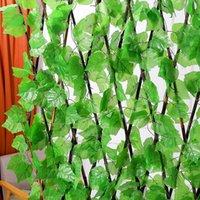12pcs / серия Искусственные растения винограда гирлянда лиана Greens Rattan Поддельный листьев Vine висячие шелк Зелень Листья для сада Свадьба стены Home Decor