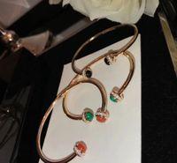 Nueva marca mas pura 925 joyería de plata esterlina para la joyería de la boda de las mujeres Girar la bola brazalete de la gota abierta del brazalete de oro rosa pulsera CX200702