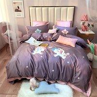 broderie sans frais style de bande dessinée de la literie expédition patch broderie mignon coton 4pcs feuille de lit en coton Housse de couette lit violet