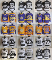 32 Jonathan Quick Jersey Hommes 33 Marty McSorley 77 Jeff Carter 99 Wayne Gretzky LA Kings Hockey Gretzky Vintage Chandails