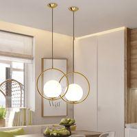 الحديثة led زجاج الكرة قلادة ضوء الذهب معدن جولة غلوب قلادة مصباح غرفة المعيشة غرفة الدراسة بسيطة إضاءة المنزل f036