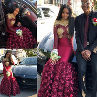 Burgundy Mermaid Black Girls Prom Dresses 2019 Long Sleeves ...
