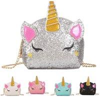 Glitter Unicorn catena borse bambini Crossbody del fumetto del sacchetto di spalla neonate pacchetto di Fanny Mezzo Borse Carino INS della moneta del raccoglitore della borsa di moda Pouch Hot