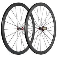 700C düğüm noktası 38mm Karbon Tekerlekli çiftler Yol Bisikleti UD Mat Karbon Tekerlekler Kırmızı R36 Hub Kırmızı Memeler
