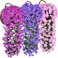 High Quality Colorful Artificial Silk Violet Ivy Hang Flower...