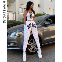 BOOFEENAA Letter Print White High Waist Sweat Pants Women Sp...