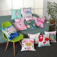 Cubiertas de cojín de flamenco Funda de almohada de lanza de algodón Home Sofá Funda de almohada decorativa Decoración del hogar Dibujos animados 12 diseños envío gratis 8pcs lqpyw941