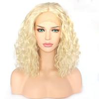 % 150 Yoğunluk # 613 Kadın Renk Kül Sarışın İnsan Saç Peruk Kinky Kıvırcık Tam Dantel İnsan Saç Peruk Bakire Avrupa Dantel Açık Peruk