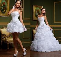 Vestido sexy de NOIVA vestido de bola blanca vestidos de novia sin tirantes Sweetheart Pick-ups Falda extraíble Arabe Mini Breve Breve Bods Vestido de miércoles