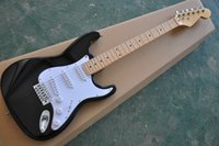 Elegant Black Electric Guitar, Whole Black and Maple Fingerb...