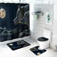 4 개 / 대 욕실 폴리 에스테르 샤워 커튼 미끄럼 화장실 커버 깔개 매트 세트