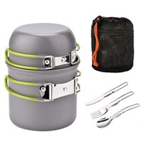 Outdoor individual portable camping pot set 2 colors folding...