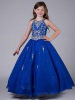 Royal Blue Girl Vestidos PAGENTES Grils Halter Ball Ball Organza Cristal Frisado Crianças Vestidos Sparkly Flower Girl Dress Feito Personalizado